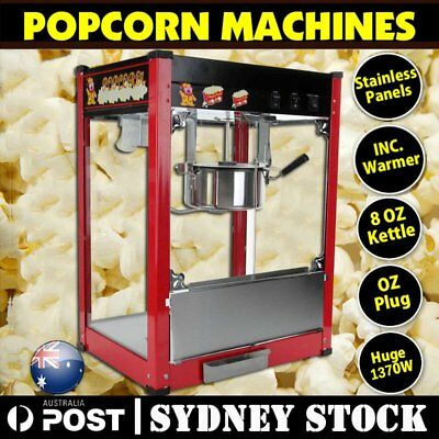 1370W Commercial Stainless Steel Popcorn Machine Red Pop Corn Warmer Cooker Pop/