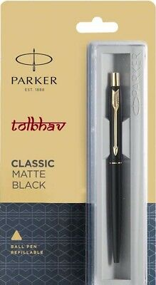 Parker Classic Matte Black GT Gold Trim Ball Point Pen, Blue Ink, Fine Nib, New