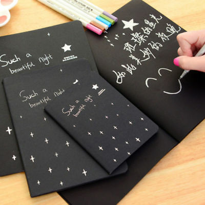 Black Paper Note Sketch book Diary for Draw Painting Graffiti with Soft Cover DE