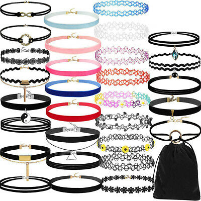 30Pieces Choker Necklace Set Stretch Velvet Classic Gothic Tattoo Lace Choker.