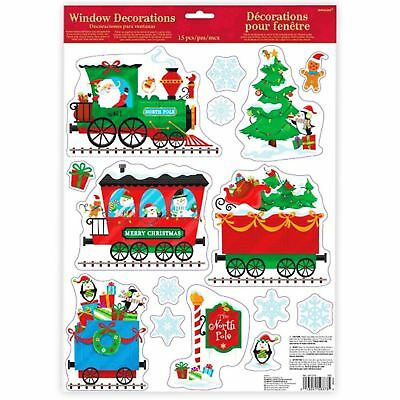 15 PCS x Kids Santa Claus North Pole Express Train Christmas Window Sticker Car