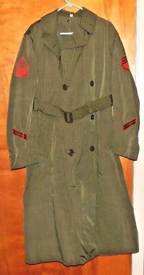 US Marine Corp Korean War Era 1952 Officer's Long Heavy Raincoat with Liner NICE