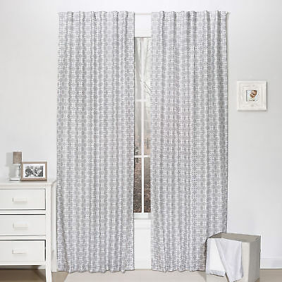 Grey Geometric Print Blackout Window Drapery Panels - Two 84 x 42 Inch Panels