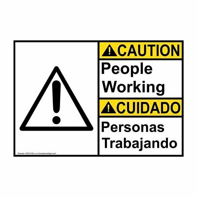 ANSI English + Spanish People Working Sign, 20x14 in. Aluminum, Made in the USA