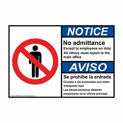 ANSI English + Spanish Employees Only Sign, 20x14 in. Aluminum, Made in the USA