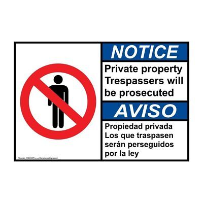 ANSI English + Spanish Private Property Sign, 20x14 in. Aluminum, USA-Made
