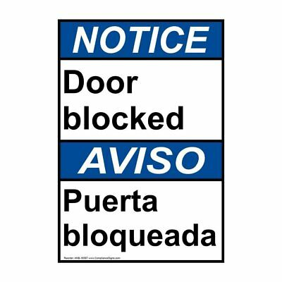 ANSI English + Spanish Door Blocked Sign, 20x14 in. Aluminum, Made in the USA