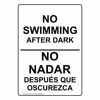 ComplianceSigns Aluminum No Swimming / Diving Sign, 20 x 14 in. with English...