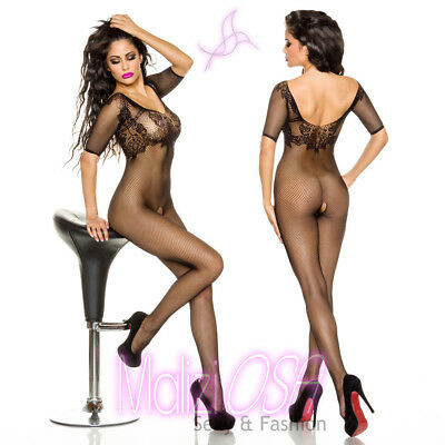 Bodystocking Catsuit Aperto Lingerie Intimo Donna Hot Rete NERO Body Tutina