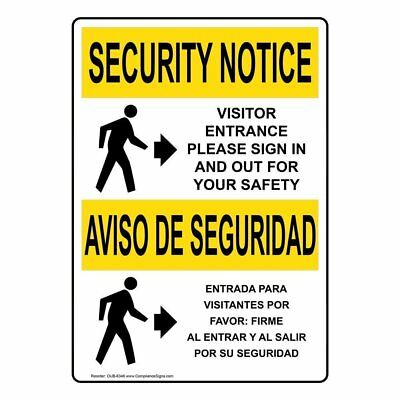 ComplianceSigns Aluminum OSHA SECURITY NOTICE Sign, 20 x 14 in. with Visitors...