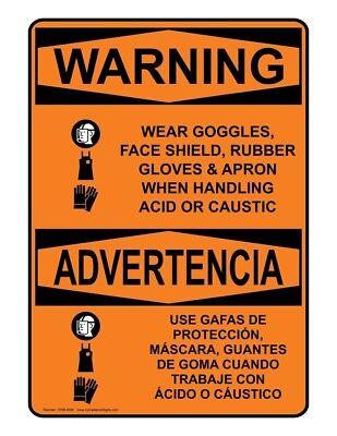 ComplianceSigns Aluminum OSHA WARNING Sign, 20 x 14 in. with PPE - Multiple...