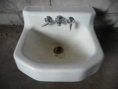 Vintage Bathroom Lavatory Sink & Faucet - Circa 1950 Architectural Salvage