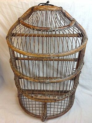 "Vintage Bamboo Wood Large 22"" Half Dome Flat Wall Mount Hanging Bird Cage"