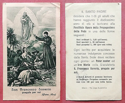 Santino Holy Card: S. San Francesco Saverio