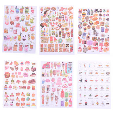2Sheets Creative Food Drinks Diary Scrapbook Decoration DIY Stickers Toys Gift-/