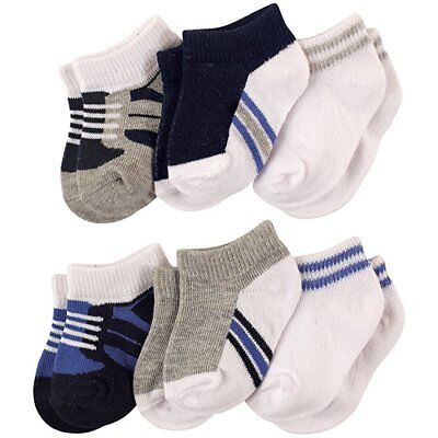 Luvable Friends Baby Boys 6-Pack No Show Ankle Socks  0-6 6-12 12-24 Boys Shoes