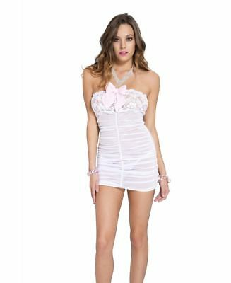 Sheer And Lace Strapless Babydoll With Bow - Music Legs 60026