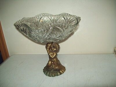 Antique crystal fruit bowl Cherub stem Brass or Bronze beautiful Compotes