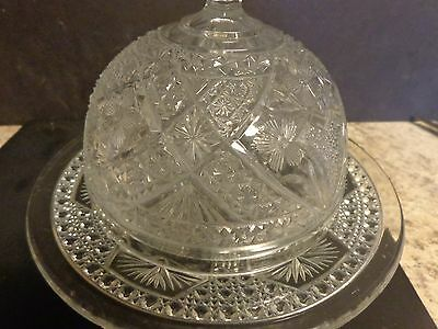 American Brilliant? Glass  Butter/cheese Bowl Dish Dome Cover