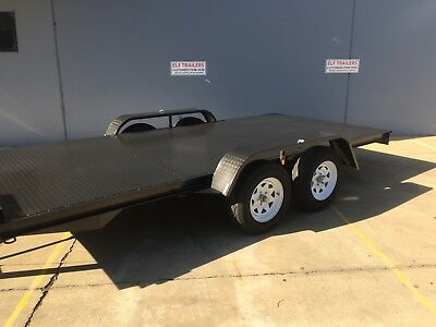 Brand New Flat Bed Car Trailer 14Ft Tandem Dual Axle Upgraded Model Elf Trailers