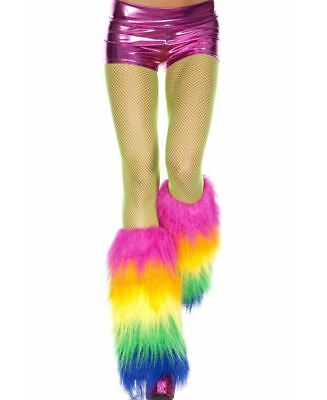 Furry Rainbow Leg Warmers - Music Legs 5538
