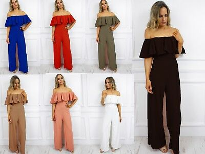 UK New Off Shoulder Bardot Ruffle Frill Wide Leg Jumpsuit Palazzo Glamzam