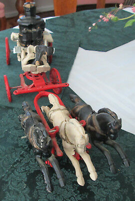 """Vintage 21"""" Cast Iron Fire Truck Steamer Pumper With Three Galloping Horses"""