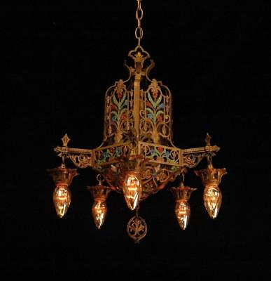 Vintage 1920's Restored Art Deco Nouveau 5 Light Polychrome Chandelier