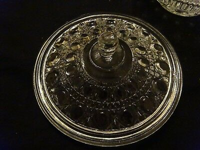 Button and Cane Candy Nut Dish Bowl with Lid in Windsor Clear by Federal Glass