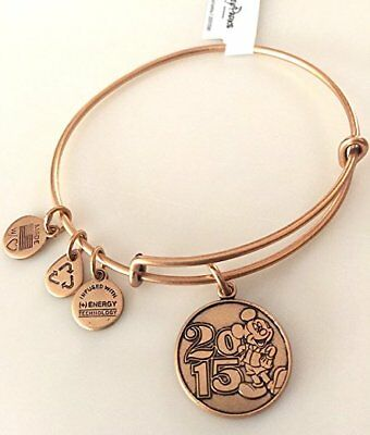 New Disney Parks Alex and Ani 2015 Mickey Mouse Gold Charm Bangle Bracelet