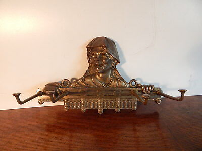 Antique East Lake Victorian Black Americana Brass Plated Cast Iron Hat Coat Rack