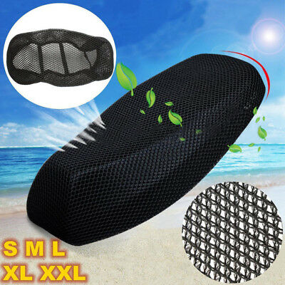 3D Black Motorcycle Electric Bike Net Seat Cover Breathable Protector Cushion