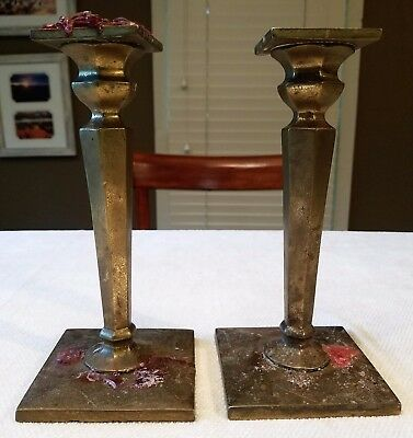 Two Antique Solid Brass Candlestick - Handmade - Estate Sale Find!