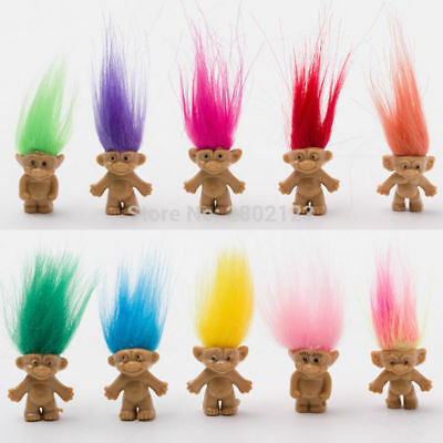 10 pcs/lot Vintage Trolls Lucky Doll Mini Figures Toy Cake Toppers Decoration