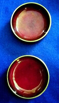 """Carlton Ware, Personal Ashtrays, Rouge Royale, gold edge, approx. 3"""""""