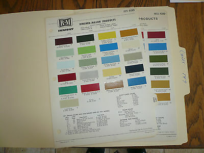 1971 & 1972 Ford R-M Color Chip Paint Sample -
