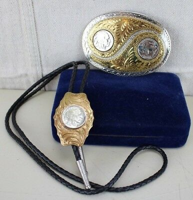 Silversmith Collection Buffalo Nickle Belt Buckle and Bolo Handmade Hand Engrave