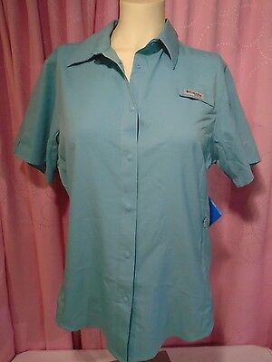 NEW Columbia Women's Crystal Springs Short Sleeve Shirt Pale Blue Medium $40.