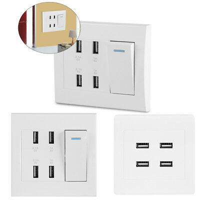4 Ports Switch Control 5V 2.1A/1A USB Wall Mounted Power Socket Charger Outlet Z