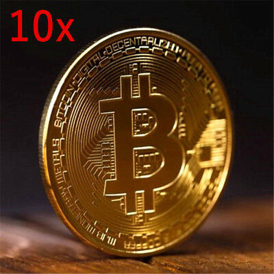 10xBITCOIN Gold Plated Physical Bitcoin in protective acrylic case FAST SHIPPING