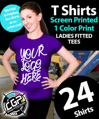 24 Womens Fitted T Shirts Custom Screen Printed - Soft Ring Spun Cotton