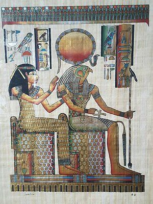 MADE IN EGYPT 63x90 papyrus hand painted Amemhet and Ra vintage art egyptian