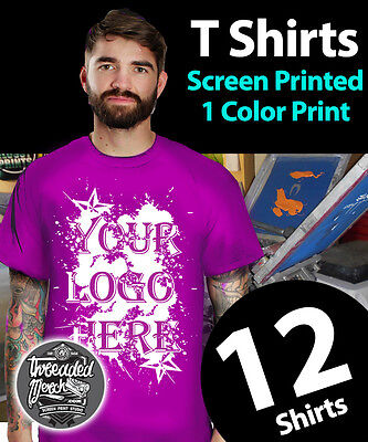 12 Custom Screen Printed Cotton T-Shirts 1 ink color 1 location