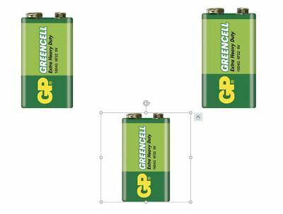 3 x GP GREENCELL EXTRA HEAVY DUTY 9V PP3 BATTERY