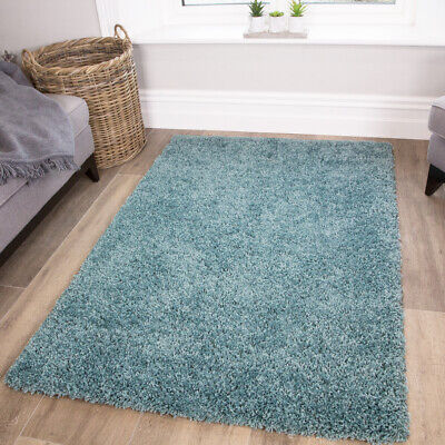 New Fluffy Duck Egg Coastal Blue Shaggy Rug Soft Thick For Bedroom Living Room