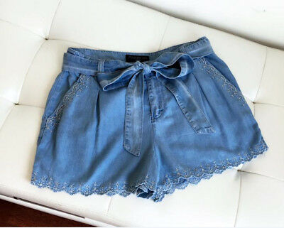 Forever New Women's Melinda Embroidery Scallop Hem Lyocell Shorts Size 10 12 16