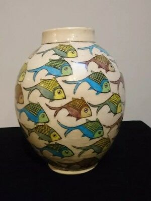 VERY RARE Old Persian Fish Pottery Vase