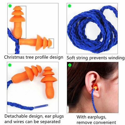 10pcs pack Soft Silicone Corded Ear Plugs Reusable Hearing Protection Earplugs