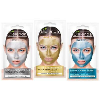 Bielenda Gold Silver and Blue DETOX Metallic Wash Off Face Mask 8g