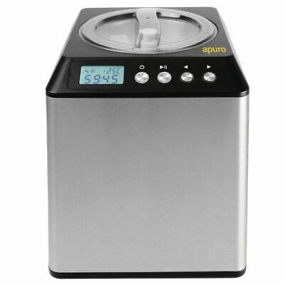 Apuro 2 Ltr Upright Ice Cream Maker - Stainless Steel| Non-stick removable bowl